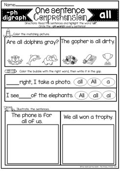 Reading Comprehension for Primer Sight Words and Phonics (Digraphs and Blends)