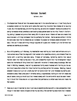 Reading Comprehension for Short Story (fiction based on fact)--3 of 5 pieces