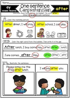 Reading Comprehension for Sight Words and Phonics (First Grade and Long Vowels)