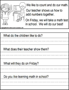 Reading Comprehension for Special Education/ Autism: Leveled Readers with Data