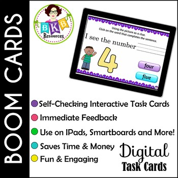 Reading Comprehension for numbers 1-20 ● Digital Task Cards ● Boom Cards