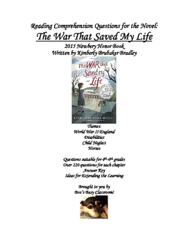Reading Comprehension Questions for the Novel: The War That Saved My Life