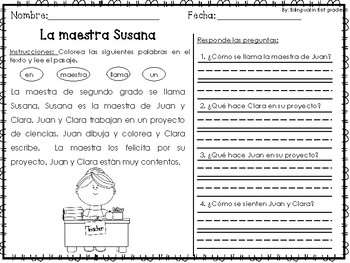 Reading Comprehension in Spanish - Back to school