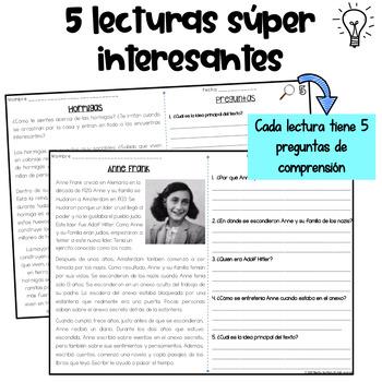 Reading Comprehension in Spanish- Comprensión de lectura Set 4