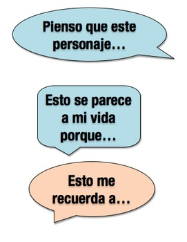 Reading Comprehension student phrases/starters in SPANISH
