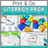 PRINT & GO Literacy Centers: Reading Comprehension & Grammar Skills {EDITABLE}