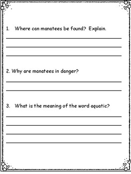 Reading Comprehension with Non Fiction Passages for Third Grade