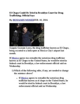 Reading ComprehensionTest Prep-El Chapo Could Be Tried for Drug Trafficking