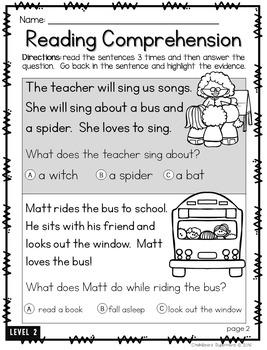 Reading Comprehension: {4 different levels} #kindnessrocks