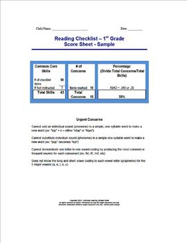 Reading Concern Checklist 1st grade