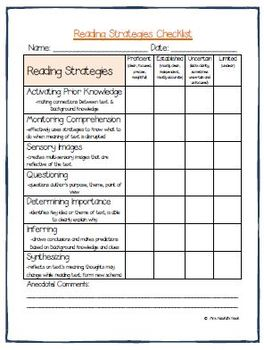 Guided Reading Conference Forms, Questions, Reading Strategies, Rubrics