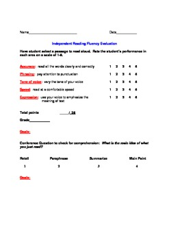 Reading Conference Fluency Evaluation Sheet