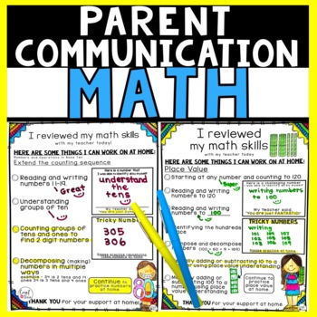 Math Parent Communication Forms for First and Second Grades