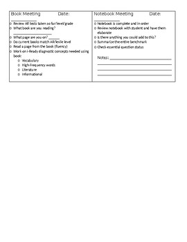 Reading Conference Form Checklist for Teachers