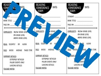 Reading Conference Form for Middle Grades