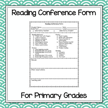 Reading Conference Form for Primary Grades