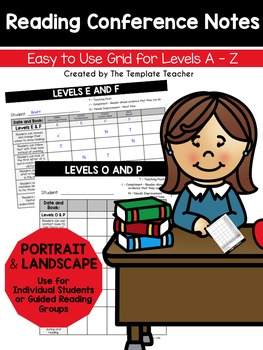 Reading Conference Notes - Note Taking Grid for Levels A - Z
