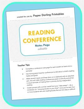 Reading Conference Notes *EDITABLE*: Portfolios and Parent Teacher Conferences
