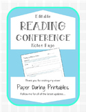 Reading Conference Notes *EDITABLE*: Portfolios and Parent
