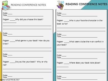 Reading Conference Notes Sheet