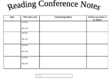 Reading Conference Notes Template