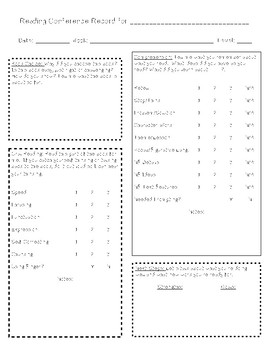 Guided Reading and Reading Conference Note Tracker