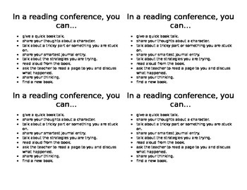 Reading Conference Option Card