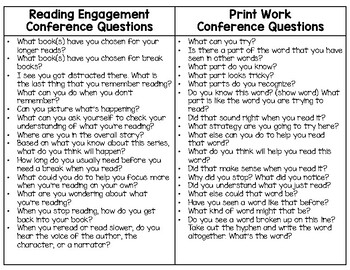 Reading Conference Question Cards
