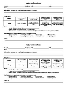 Reading Conference Recording Sheet - Half Page