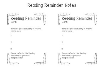Reading Conference Reminder Note