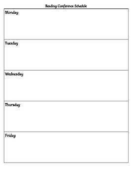 Reading Conference Schedule Template
