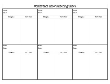 Reading Conference Sheet