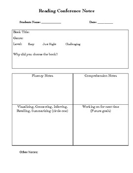 reading conference teacher notes template by colleen barnett tpt