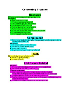 Reading Conferring Prompt Sheet (Reading Workshop)