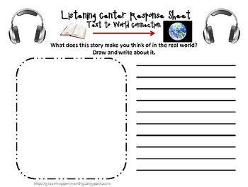 Reading Connections Listening Center Response Sheets