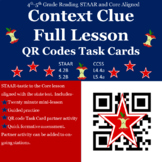 """Context Clues"" STAAR-TEKS/CORE Aligned lesson including QR Code Task Cards"