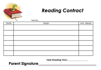Reading Contract- Bookworm (Blank)