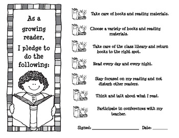 Reading Contract for Reading Workshop-Based on Growing Readers