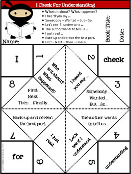 Reading Cootie Catchers: Check for Understanding, Retell, Asking Questions