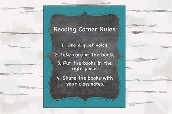 Reading Corner Rules, Chalkboard and Aqua theme decor, Reading Nook