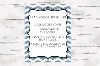 Reading Corner Rules, Reading Nook, Chevron Theme, Nautical Theme, 8x10 jpg