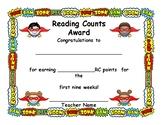 Reading Counts Award Certificate, Super Cute Super Hero Theme