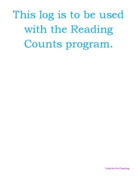 Reading Counts Log for Data Binders