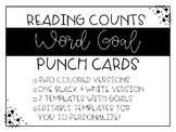 Reading Counts Word Goal Punch/Stamp Cards - EDITABLE