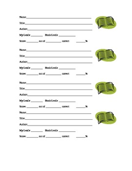 Reading Counts or Accelerated Reader Information Slips