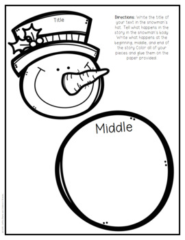 Reading Crafts: Beginning, Middle, and End Snowman