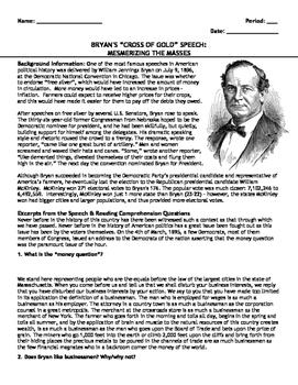 "Reading: ""Cross of Gold"" Speech by William Jennings Bryan"
