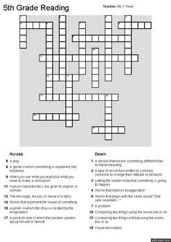 Reading Crossword Puzzle by Ms C Read | Teachers Pay Teachers