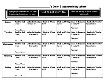 Intermediate Reading Daily 5 Accountability Sheet