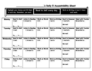 Intermediate Reading Daily 5 Accountability Sheet